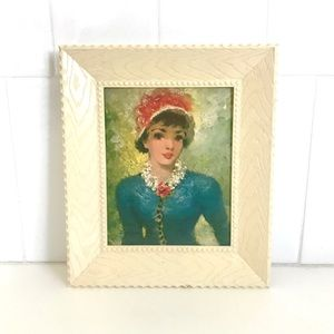 Vintage 1960's Victorian lady framed wall art
